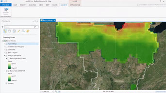 Captura de pantalla de software ArcGIS con GeoAnalytics.