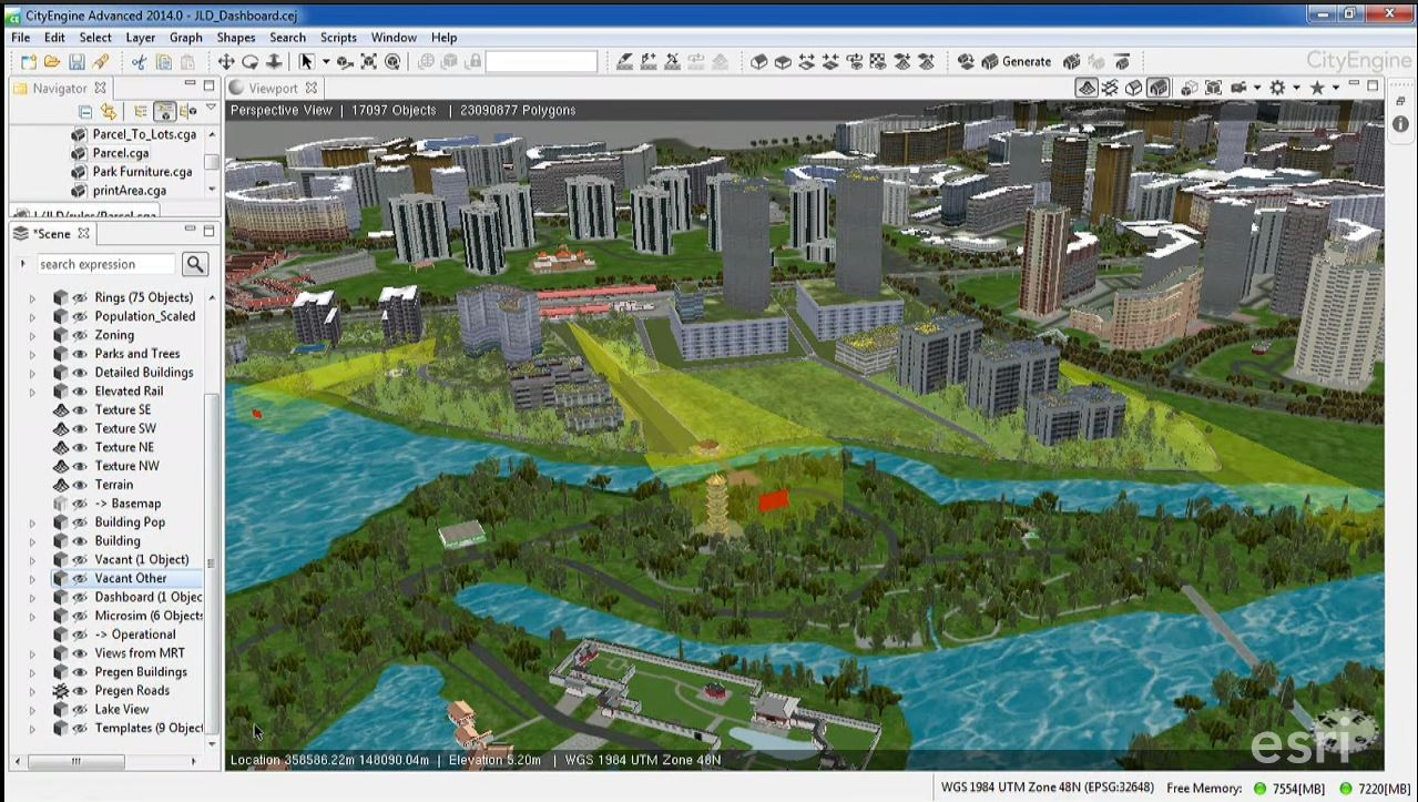 Captura de software Esri CityEngine de modelado urbano 3D.