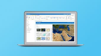 Interfaz de software de mapeo ArcGIS Maps for SharePoint, mostrando distintas vistas de mapa.