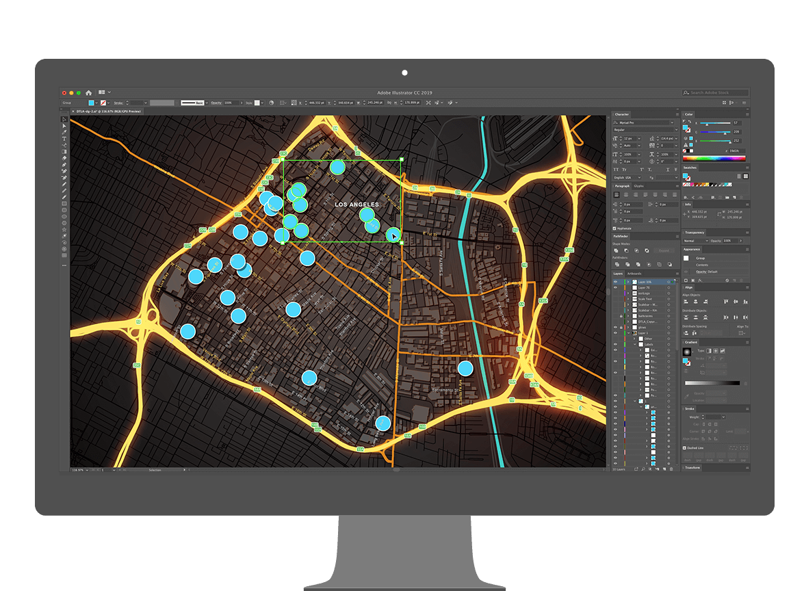 Monitor con mapa impactante visualmente de ArcGIS Maps for Creative Cloud en Adobe Illustrator.