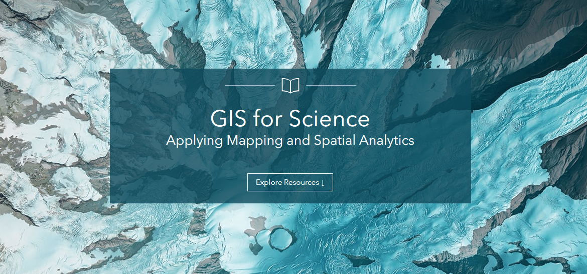 Captura del sitio de GIS for Science de Esri.