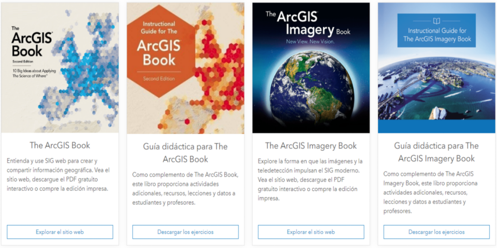 Captura del sitio de ArcGIS Books de Esri.
